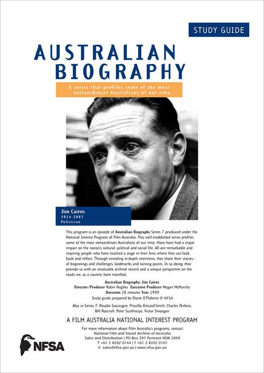 Australian Biography Series - Jim Cairns (Study Guide)