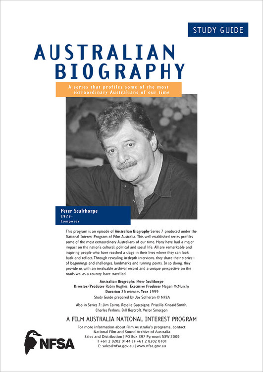 Australian Biography Series - Peter Sculthorpe (Study Guide)