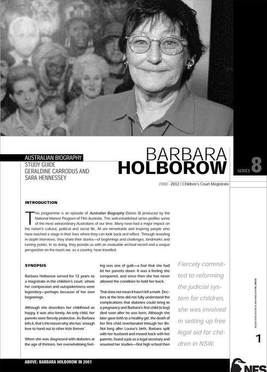Australian Biography Series - Barbara Holborrow (Study Guide)