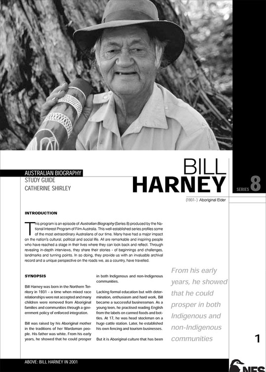 Australian Biography Series - Bill Harney (Study Guide)