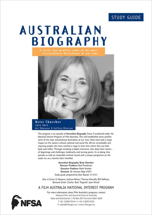 Australian Biography Series - Betty Churcher (Study Guide)