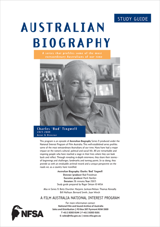 Australian Biography Series -  Charles 'Bud' Tingwell (Study Guide)