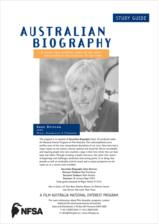 Australian Biography Series - Ann Deveson (Study Guide)