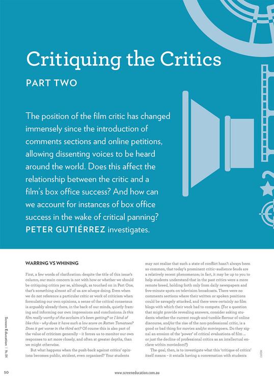 Critiquing the Critics: Part Two