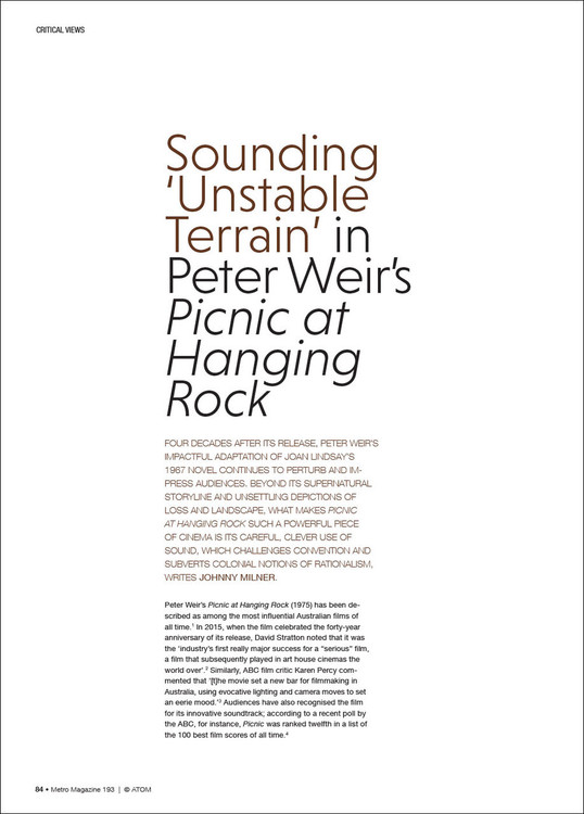 Sounding 'Unstable Terrain' in Peter Weir's 'Picnic at Hanging Rock'