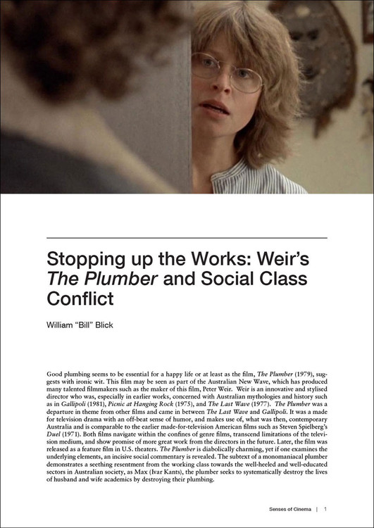 Stopping up the Works: Weir's 'The Plumber' and Social Class Conflict