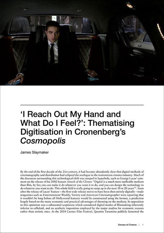 I Reach Out My Hand and What Do I Feel?: Thematising Digitisation in Cronenberg's 'Cosmopolis'