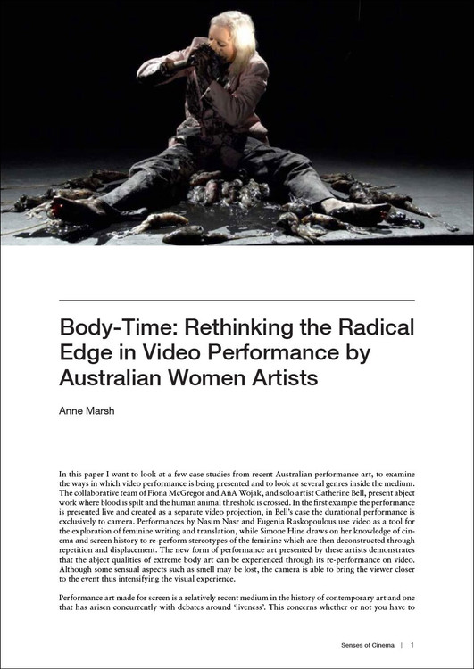 Body-Time: Rethinking the Radical Edge in Video Performance by Australian Women Artists