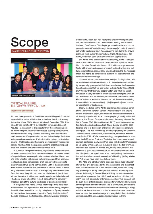 Scope: Screen Industry Views (M195)