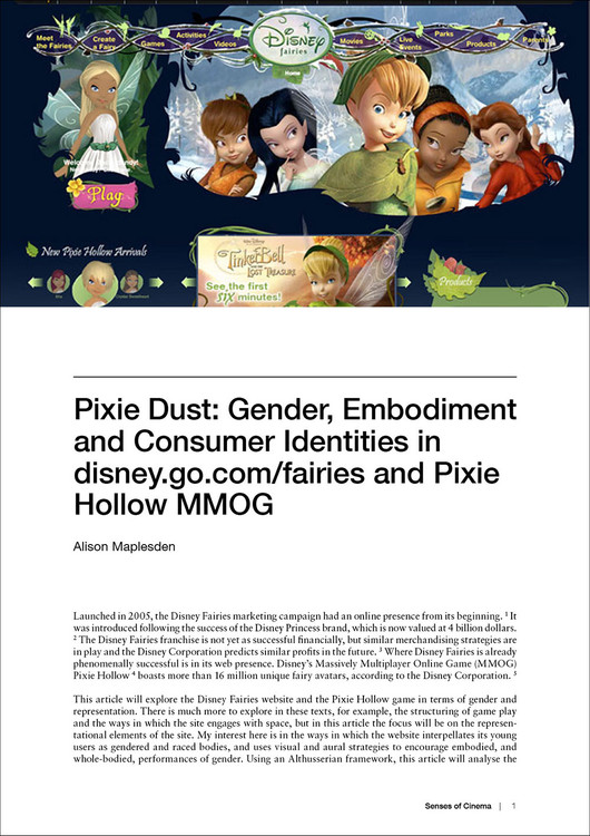 'Pixie Dust': Gender, Embodiment and Consumer Identities in disney.go.com/fairies and Pixie Hollow MMOG