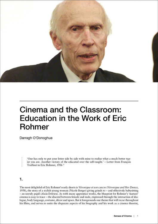 Cinema and the Classroom: Education in the Work of Eric Rohmer