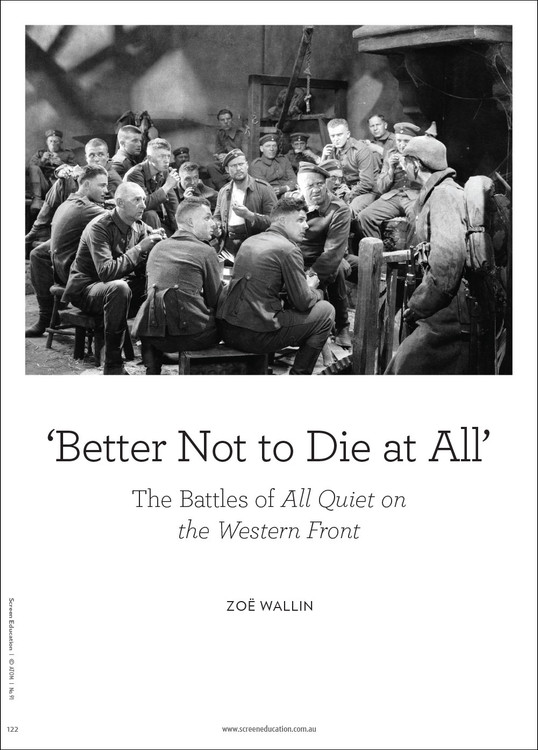 'Better Not to Die at All': The Battles of 'All Quiet on the Western Front'