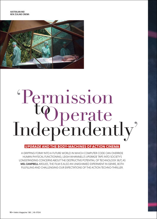 'Permission to Operate Independently': 'Upgrade' and the Body-machines of Action Cinema