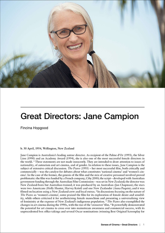 Great Directors: Jane Campion