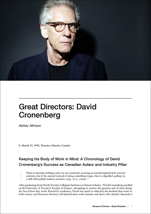 Great Directors: David Cronenberg