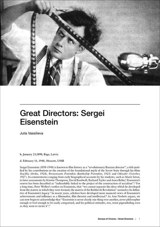 Great Directors: Sergei Eisenstein