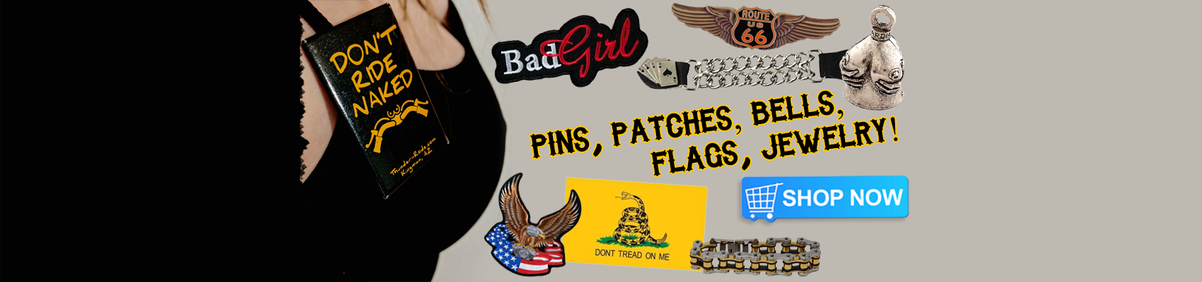 biker pins, patches, bells, flags, jewlery