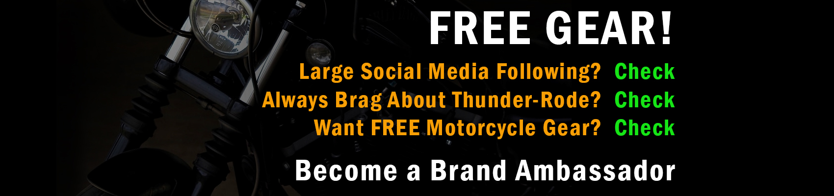 Free Motorcycle Gear as a Brand Ambassador