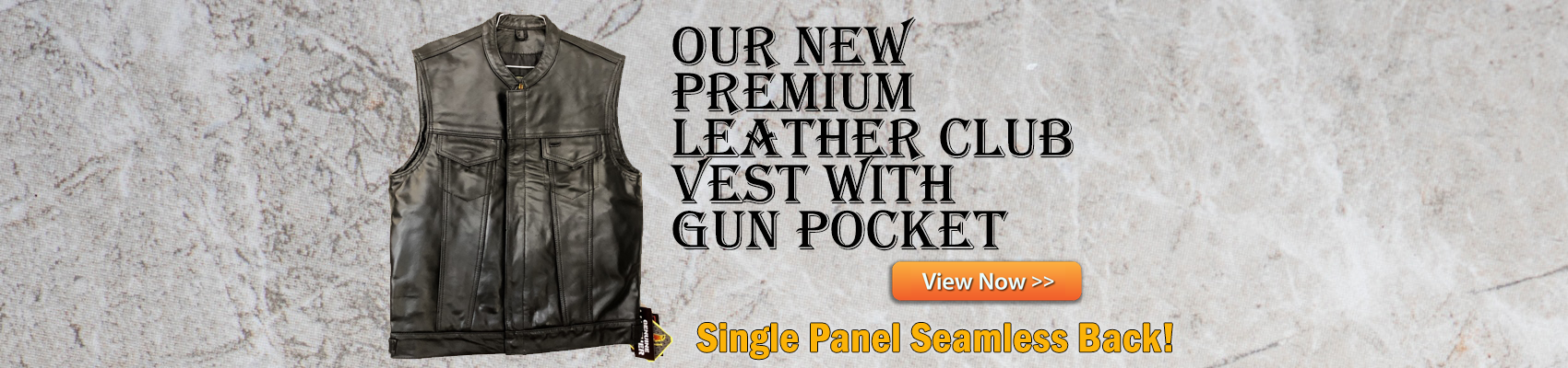 Leather Motorcycle Club Vest with Seamless Back Panel