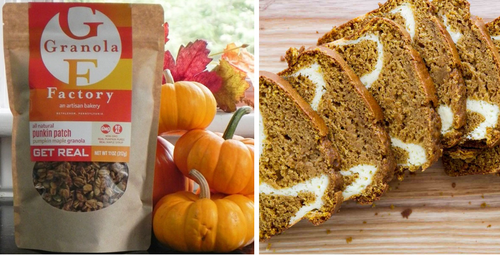 Pumpkin Pack - 1 Pumpkin Bread with Cream Cheese Swirl  and 2 bags Pumpkin Granola