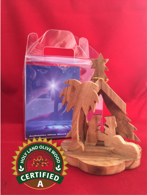 Small Olive Wood Nativity with Display Box