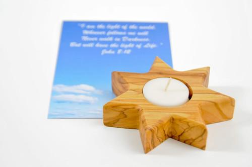 Star of Bethlehem (7 Points) Olive Wood Candle Holder