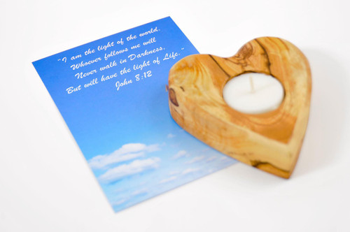 Heart Olive Wood Candle Holder