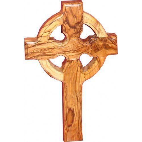 """Large Wall Cross Celtic Olive Wood Catholic Cross 10"""" Hanging Catholic Decor NEW"""