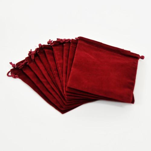 10 Small Velveteen Drawstring Bags 4x3