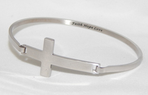 "Stainless Steel Silver Cross Bracelet inscirbed with ""Faith Love Hope"""