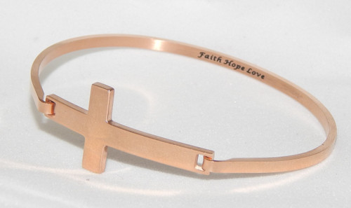 "Stainless Steel Rose Gold Cross Bracelet inscirbed with ""Faith Love Hope"""