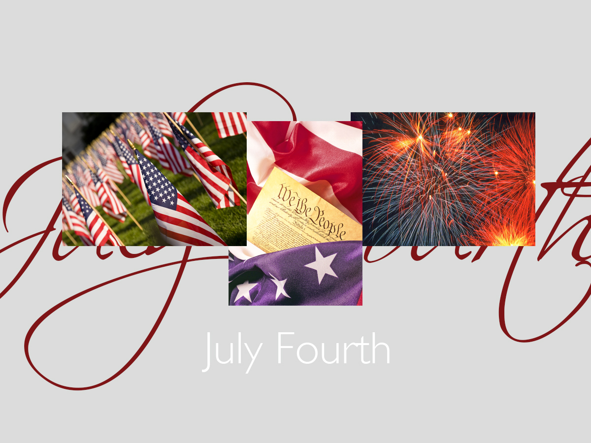July Fourth banner featuring three top-selling 4th of July cards