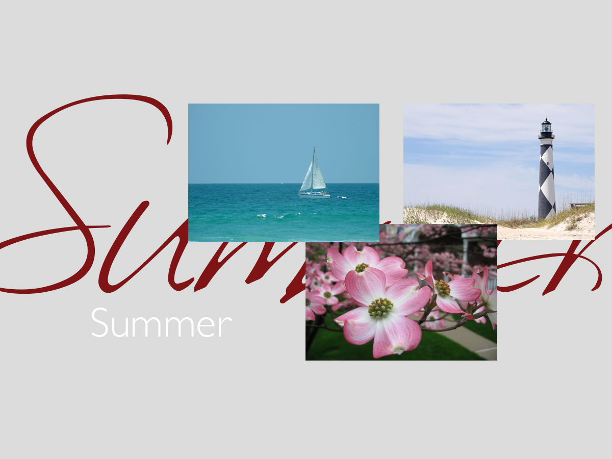 Summer banner featuring three top-selling summer greeting cards