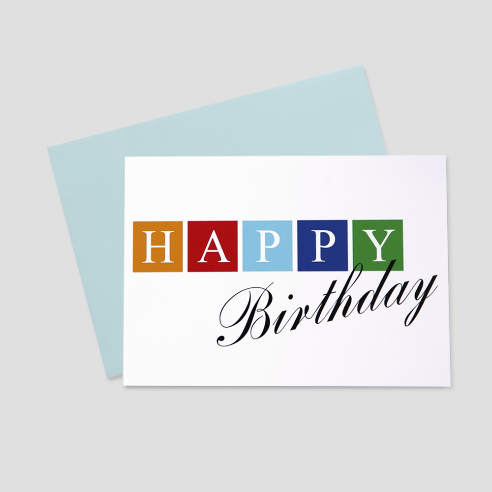 Business Birthday greeting card featuring multi-colored blocks surrounding Happy and Birthday written in script font