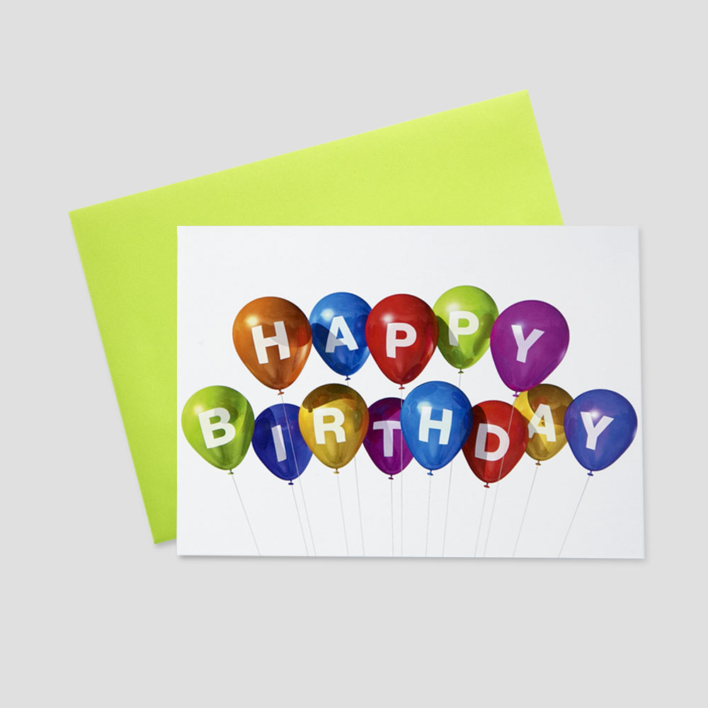 Company Birthday greeting card featuring Happy Birthday spelled out in multi-colored balloons