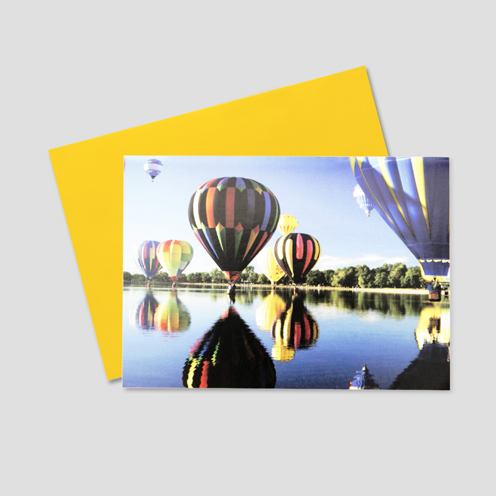 Employee Birthday Greeting Card Featuring Many Colorful Hot Air Balloons Floating Over A Lake On