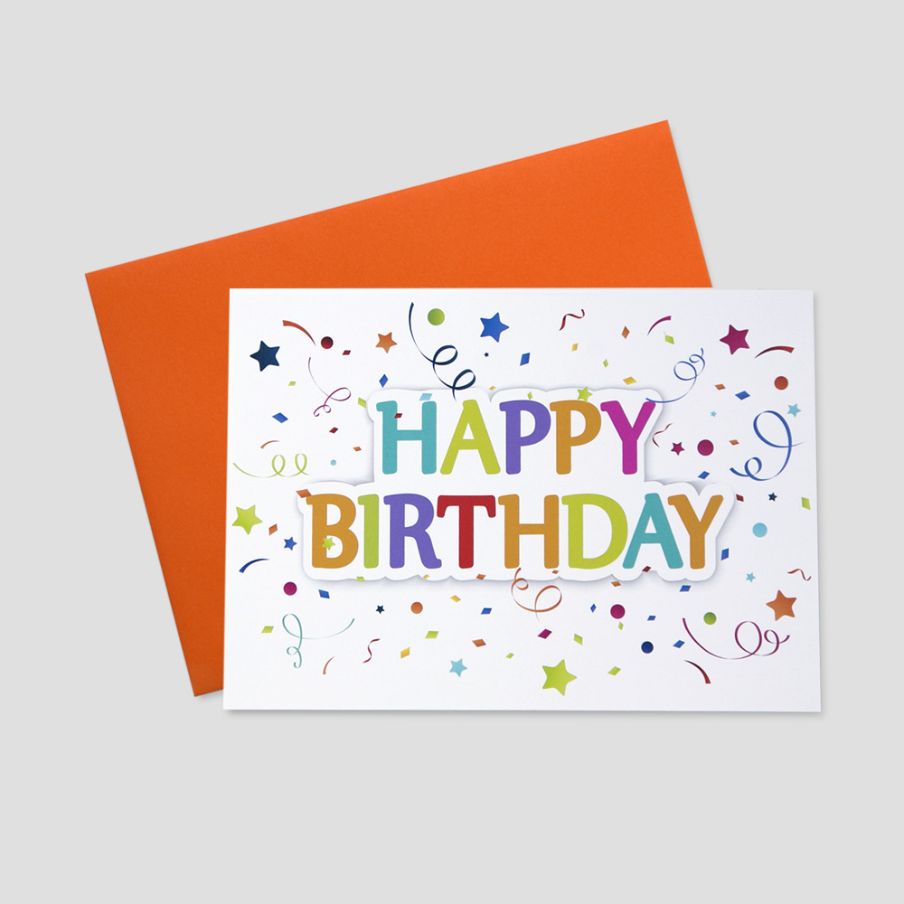 Corporate Birthday greeting card featuring a happy birthday message surrounded by bright, colorful confetti