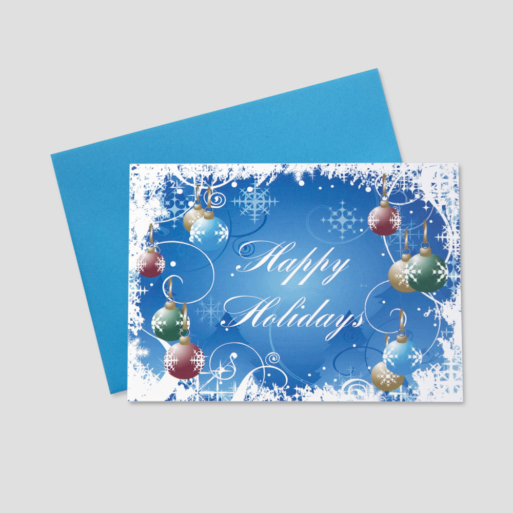 Employee Holiday greeting card with a happy holidays message in script font surrounded by falling blue snowflakes and colorful ornaments