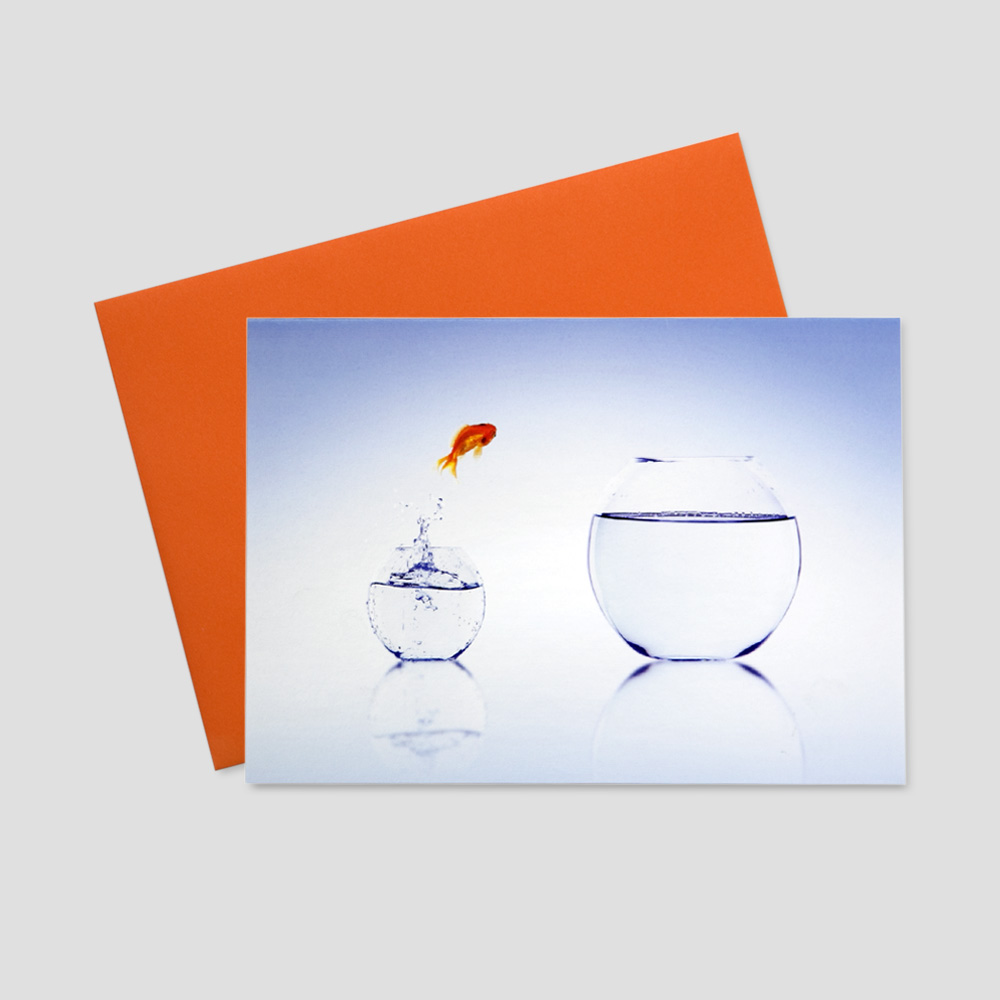 Client keep in touch greeting card featuring a gold fish jumping from a small fish bowl to a large fish bowl