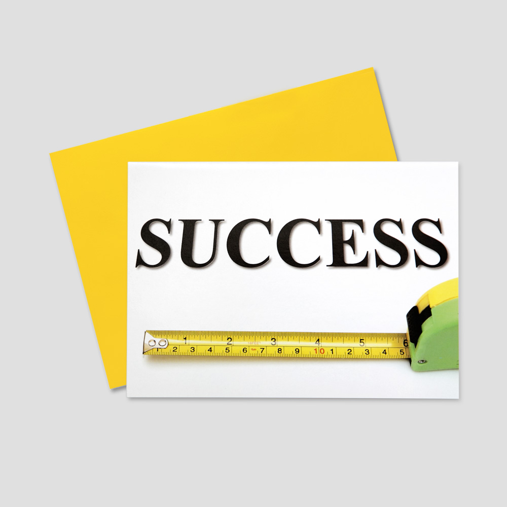 Employee keep in touch greeting card with a white background and a success message being measured by a ruler