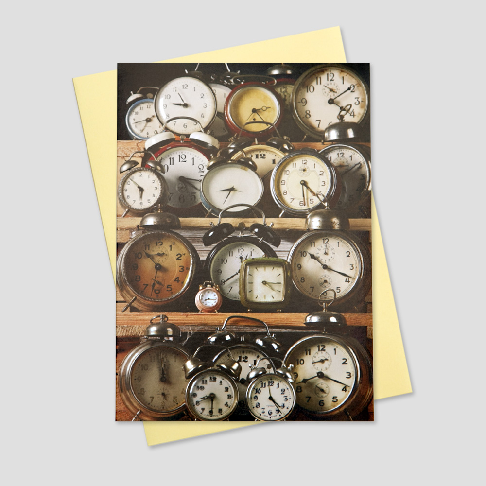Business keep in touch greeting card featuring a wall of different size and color timepieces