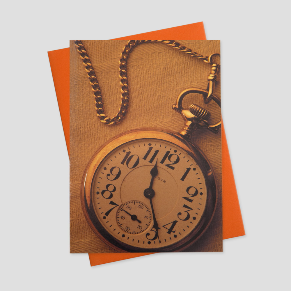 Professional keep in touch greeting card featuring a bronze compass with golden chain on a bronze background