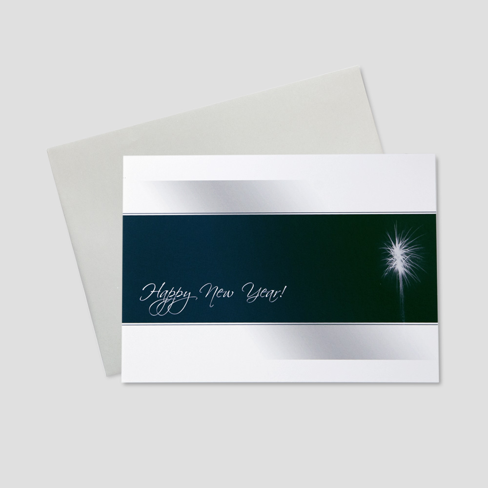 Company new year greeting card featuring a navy blue stripe across the middle of the card that highlights a white firework and new year message