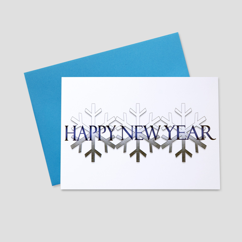 Corporate new year greeting card with multi-colored blue snowflakes across the front of the card with a blue happy new year message