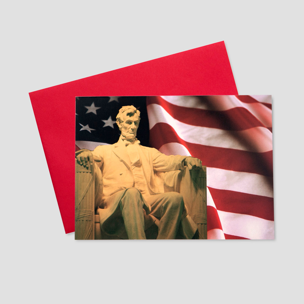Company Patriotic greeting card featuring an image of Abraham Lincoln at his grand Lincoln Memorial