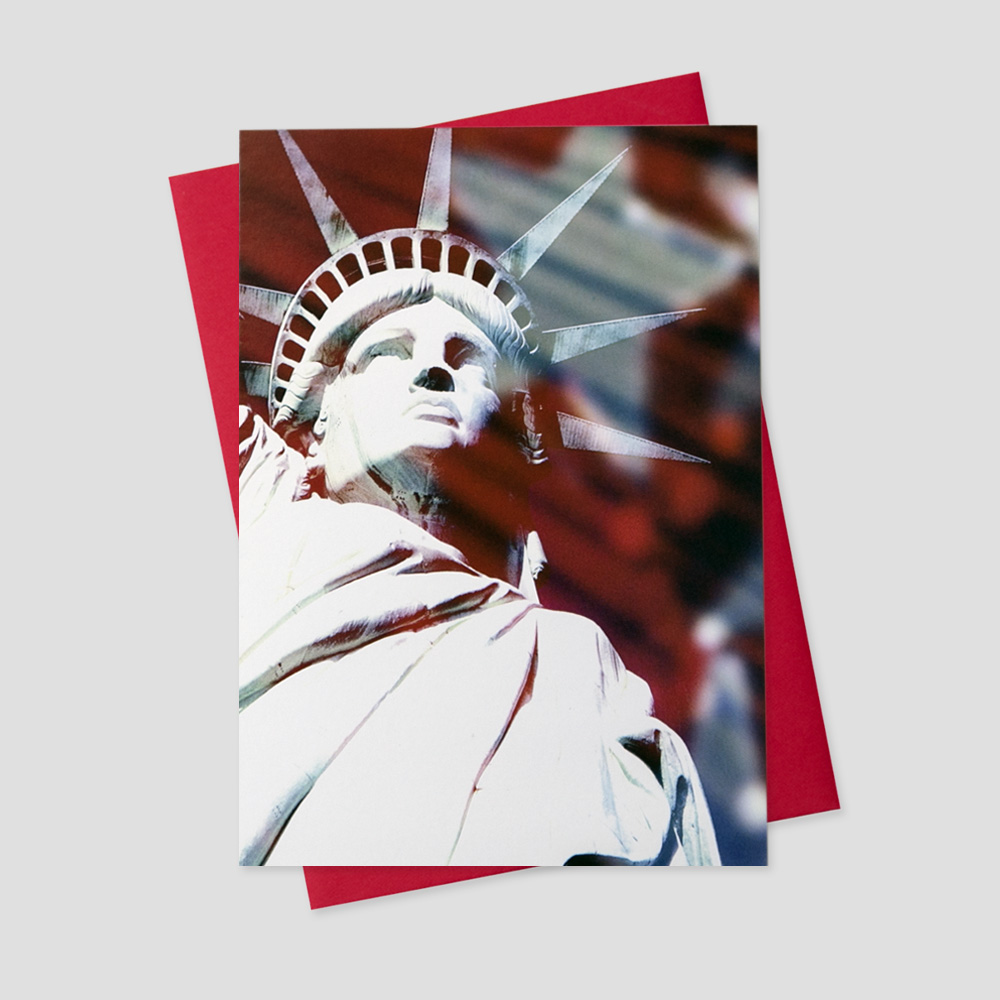 Client Patriotic greeting card with a bold status of Lady Liberty in the background of a water color American Flag