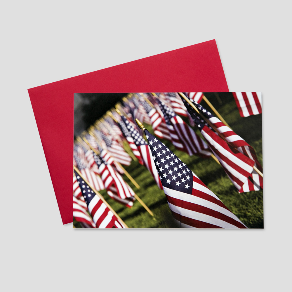 Customer Patriotic greeting card featuring many rows and columns of American Flags in a large field