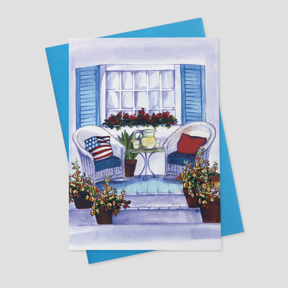 Work Patriotic greeting card with a watercolor portrait of a front porch decorated with patriotic elements