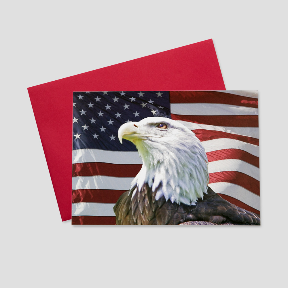 Professional Patriotic greeting card featuring a painted image of a bald eagle and the background of a waving American Flag