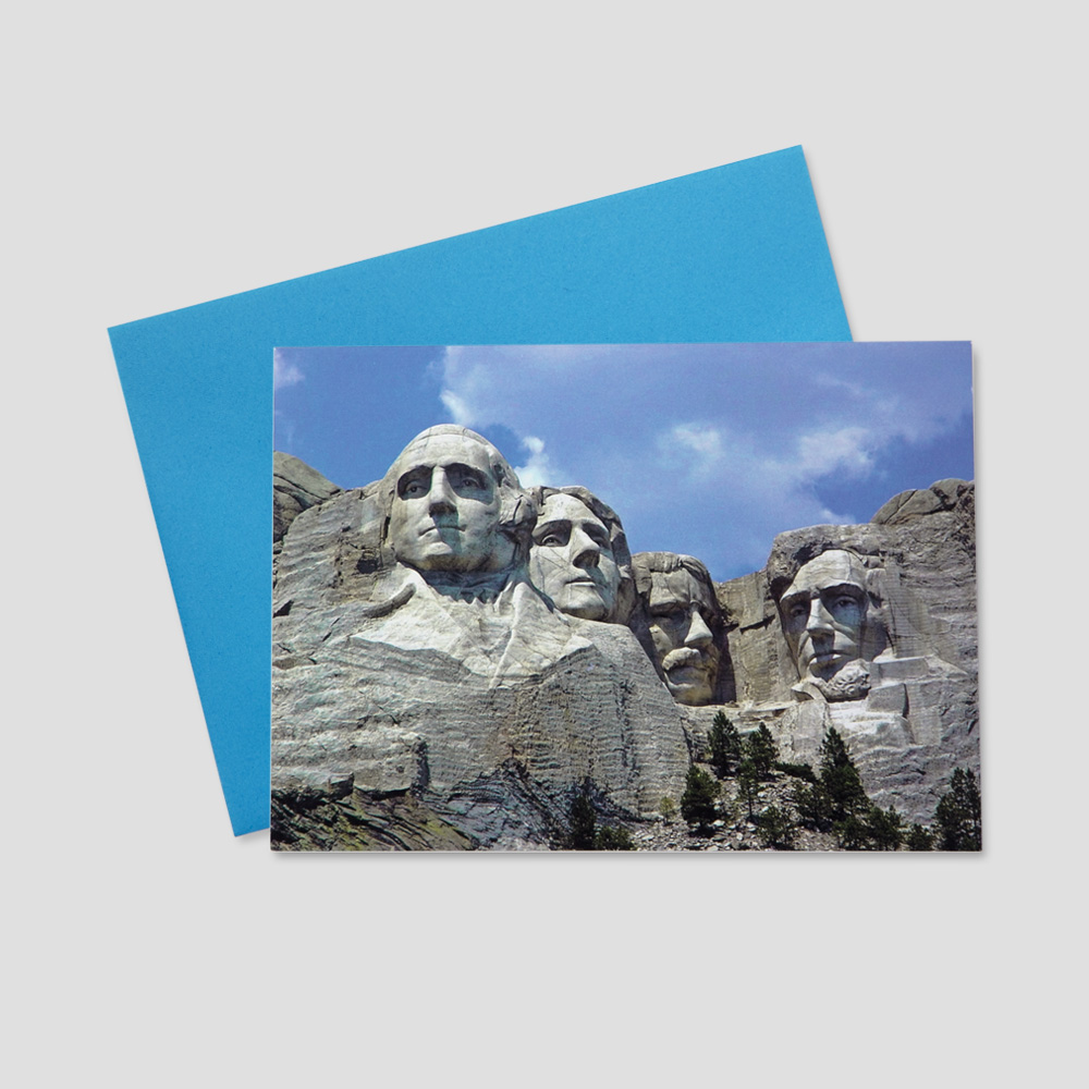 Patriotic Business greeting card featuring an image of the famous Mount Rushmore monument on a bright, sunny day